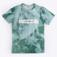 standard t-shirt with wave print and the word change